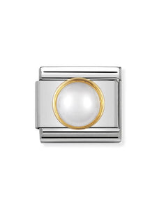 Nomination Classic Round White Pearl Charm 030503-13