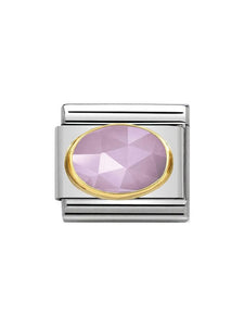 Nomination Classic Faceted Lilac Jade Oval Steel and Gold Charm 030515-07