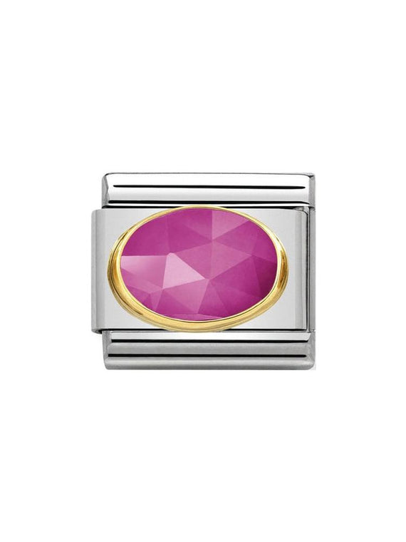 Nomination Classic Faceted Fuchsia Jade Oval Steel and Gold Charm 030515-08