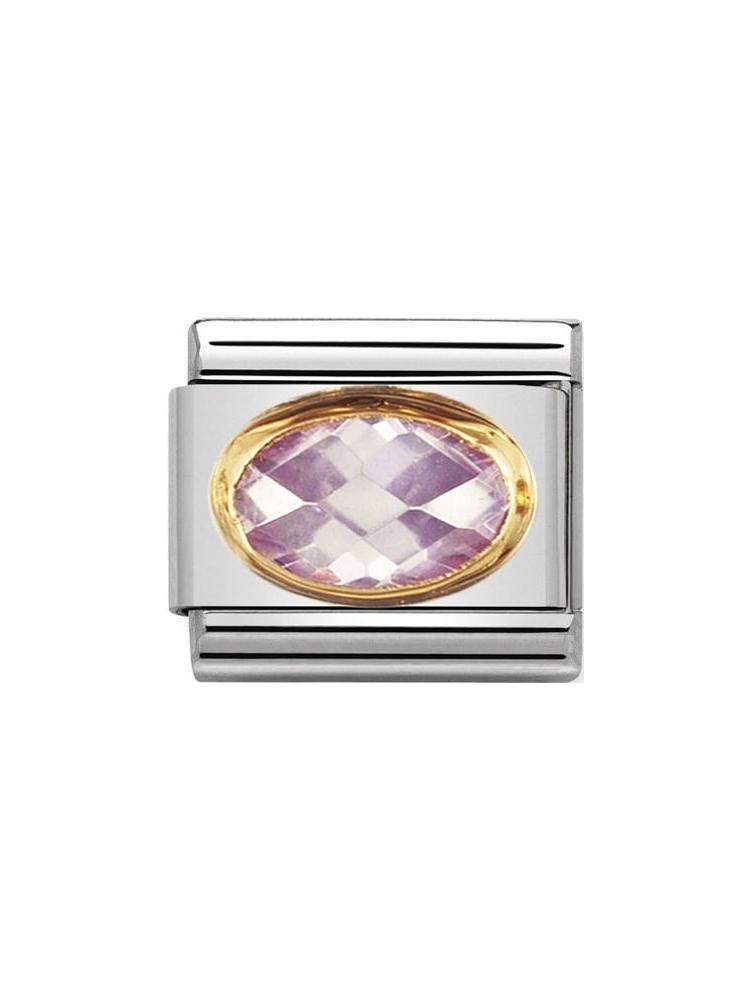 Nomination Classic Faceted Lavender Zirconia Steel and Gold Charm 030601-023