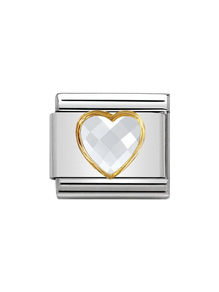 Nomination Classic White Zirconia Heart Charm  030610-010