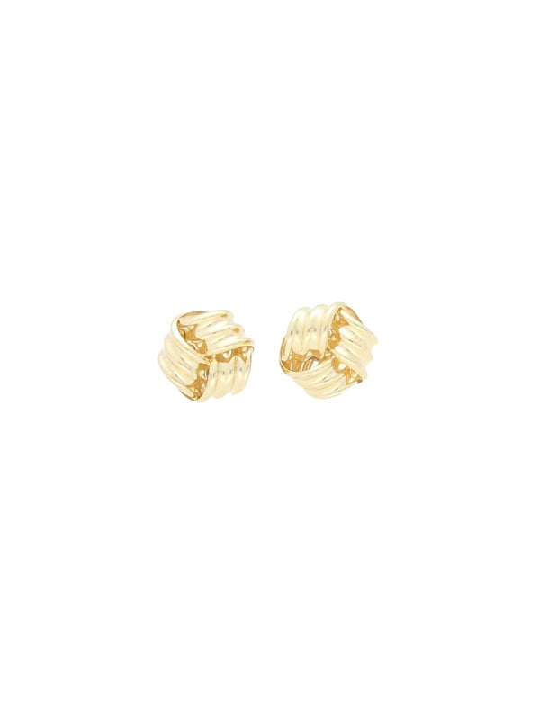 Ribbed Knot Stud Earrings in 9ct Yellow Gold