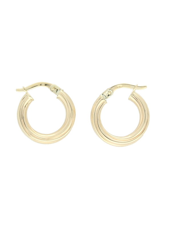 Lined Hoop Earrings in 9ct Yellow Gold