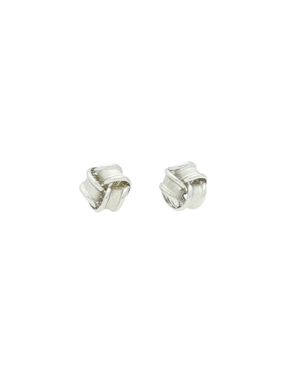 Frosted Knot Stud Earrings in 9ct White Gold