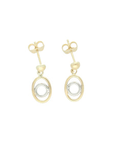 Oval & Circle Drop Earrings in 9ct Yellow & White Gold