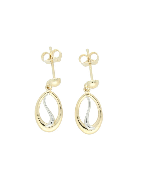 Oval & Squiggle Drop Earrings in 9ct Yellow & White Gold