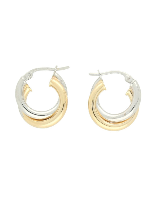 Double Hoop Earrings in 9ct Yellow & White Gold