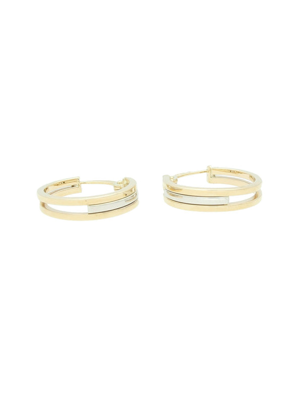 Split Hoop Earrings in 9ct Yellow & White Gold