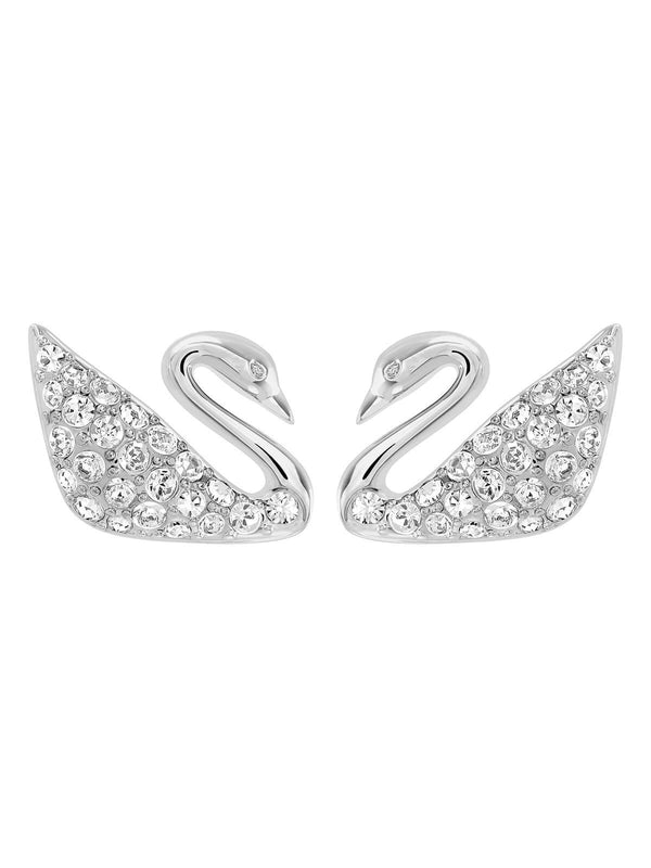 Swarovski Swan Rhodium Plated and Clear Crystal Stud Earrings 1116357