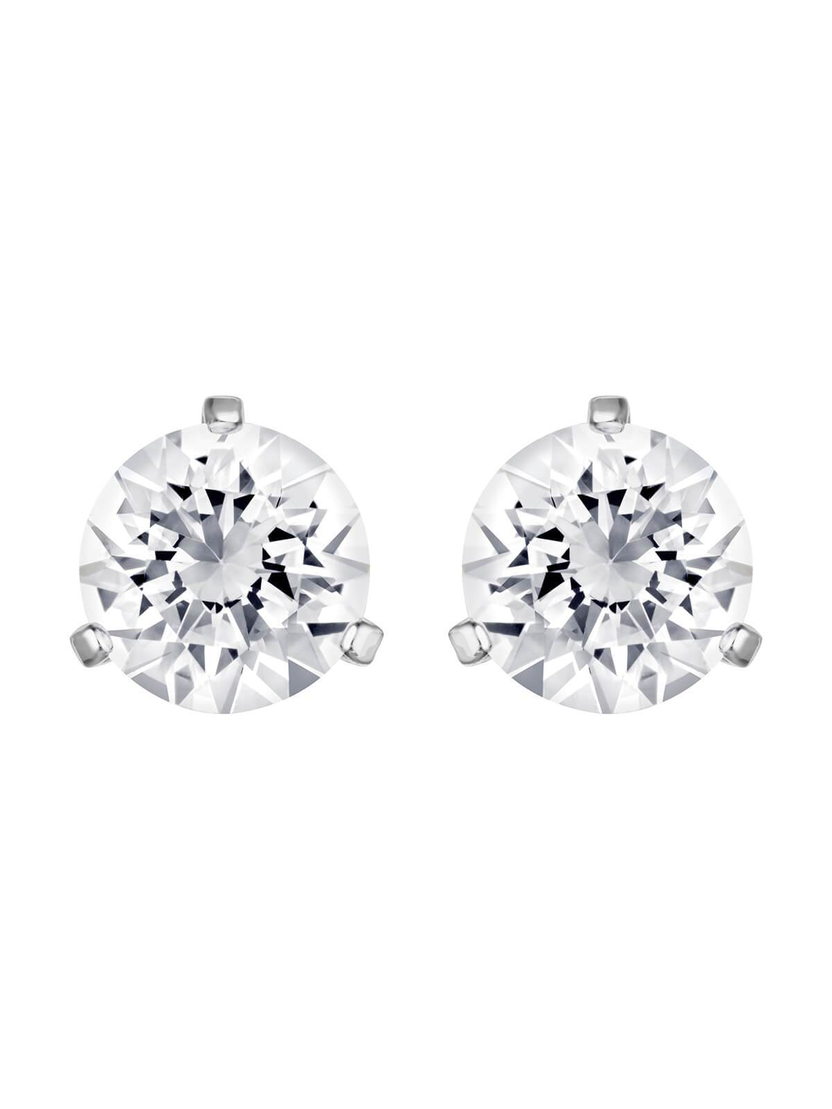 Swarovski Solitaire Rhodium Plated and Clear Crystal Earrings 1800046