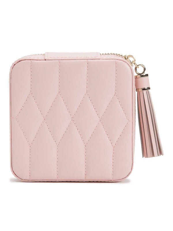 329915 Wolf Caroline Pink Leather Zip Jewellery Travel Case