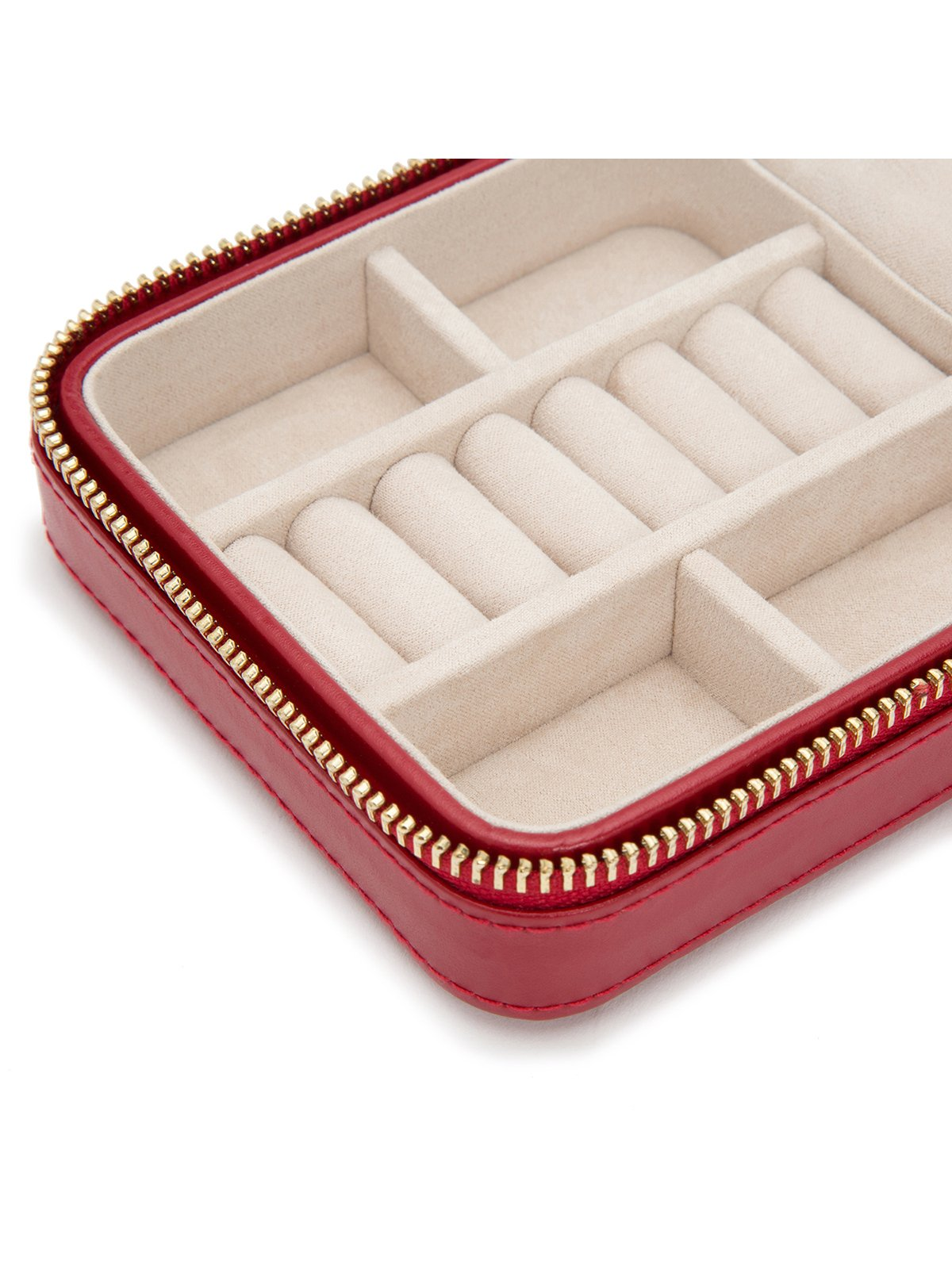 Wolf Caroline Red Leather Zip Travel Jewellery Case