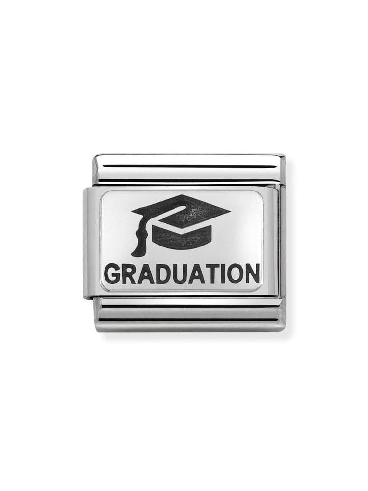 Nomination Classic Graduation with Hat Steel, Silver and Enamel Charm 330109-02