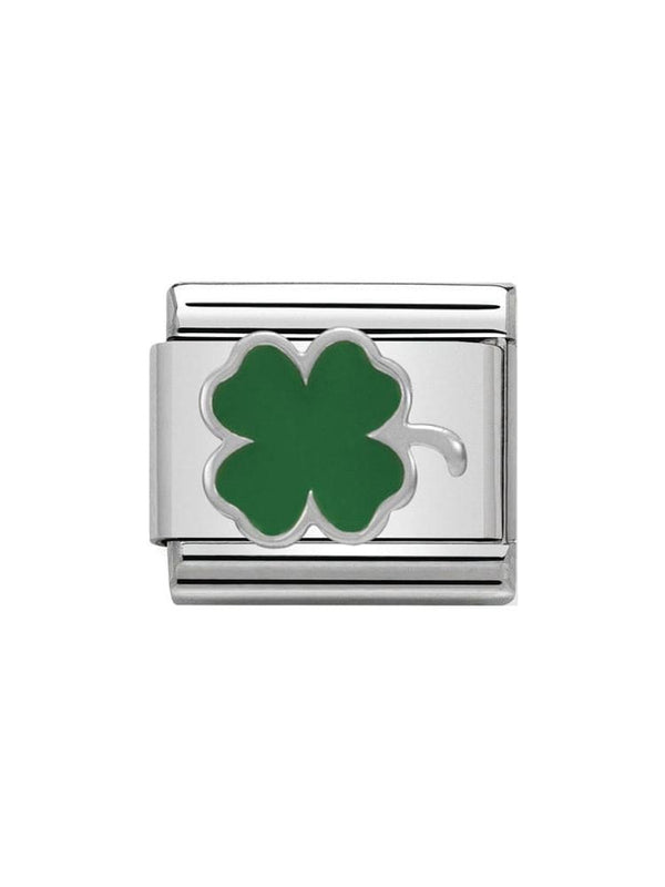 Nomination Classic Green Clover Steel, Silver and Enamel Charm 330202-12