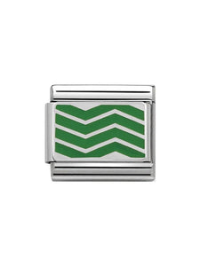 Nomination Classic Steel and Enamel Green Zig Zag Lines Charm 330206-12