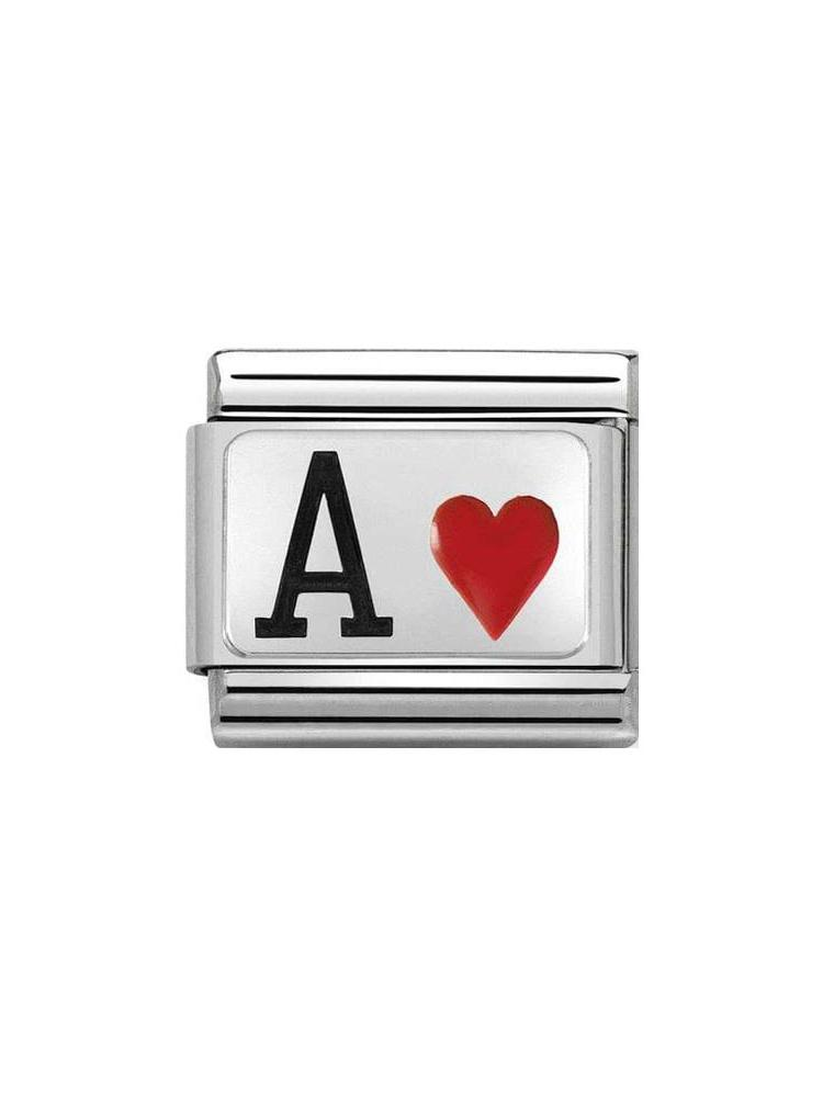 Nomination Classic Steel and Enamel Ace of Hearts Charm 330208-24