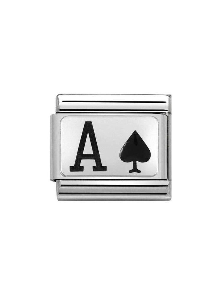 Nomination Classic Steel and Enamel Ace of Spades Charm 330208-27