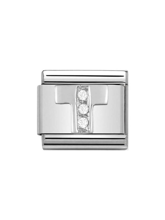 Nomination Classic Letter T Steel, Silver and Zirconia Charm 330301-20