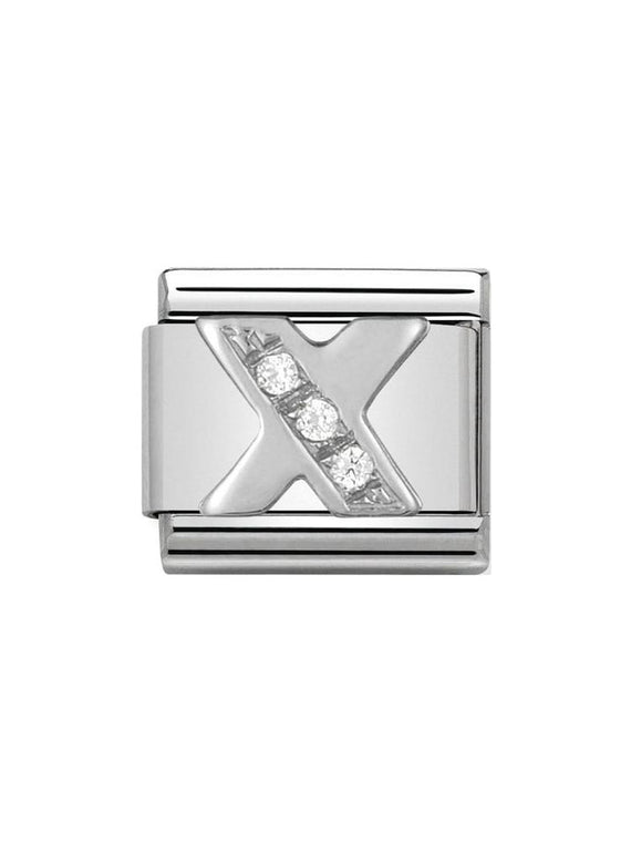 Nomination Classic Letter X Steel, Silver and Zirconia Charm 330301-24