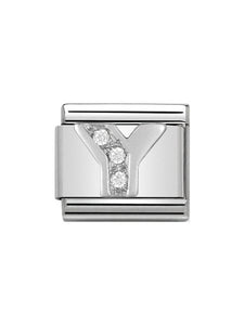 Nomination Classic Letter Y Steel, Silver and Zirconia Charm 330301-25