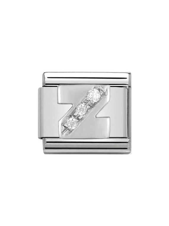 Nomination Classic Letter Z Steel, Silver and Zirconia Charm 330301-26