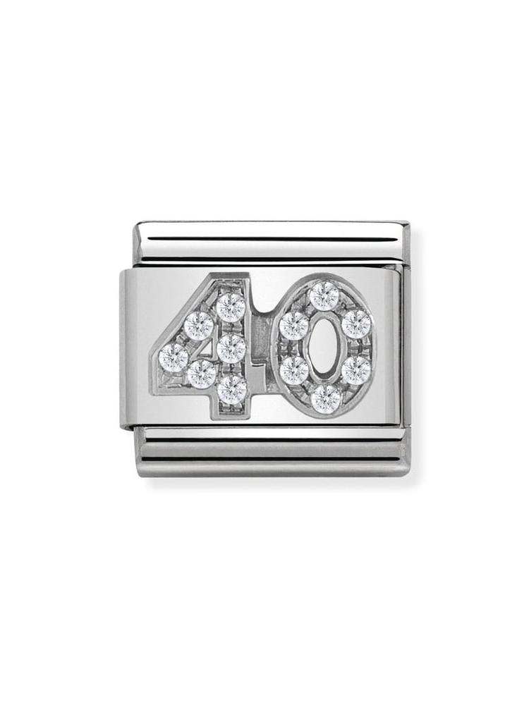 Nomination Classic 40 Steel, Silver and Zirconia Charm 330304-22