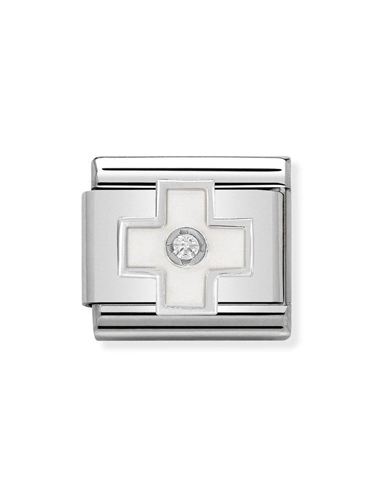 Nomination Classic Steel and Enamel White Cross Charm 330305-04