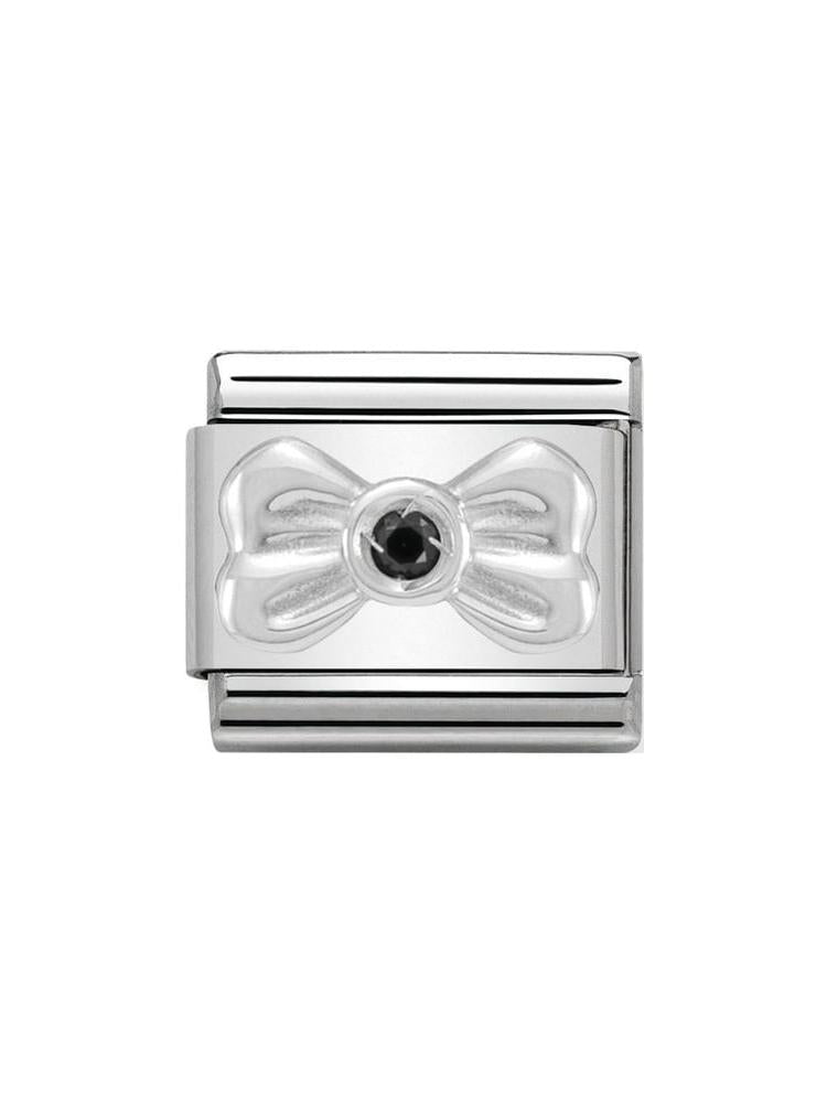 Nomination Classic Steel and Zirconia Ribbon Bow Charm 330311-02