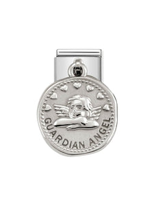 Nomination Classic Guardian Angel Coin Steel and Silver Charm 331804-21