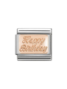 Nomination Classic Steel and Rose Gold Happy Birthday Charm 430101-29