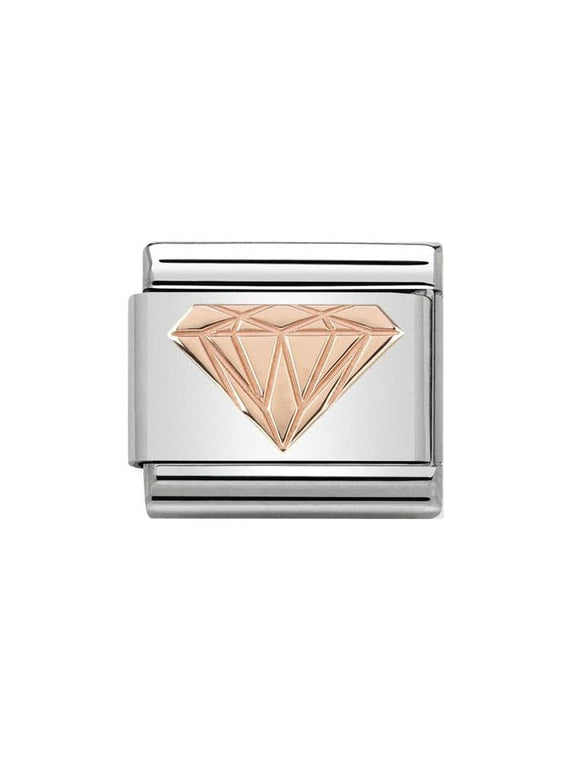 Nomination Classic Steel & Rose Gold Diamond Charm