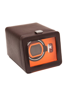 Wolf Windsor Single Watch Winder in Cover in Brown & Orange 452506