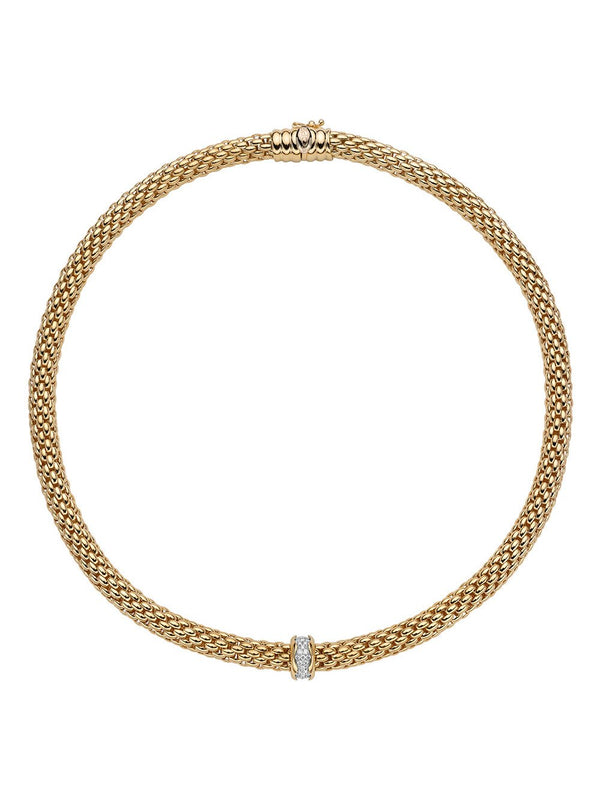 Fope Love Nest Necklace in 18ct Yellow Gold with Diamonds