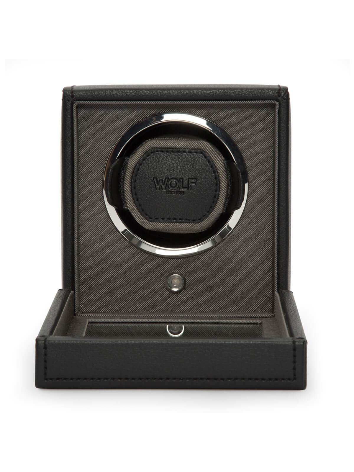 Wolf Cub Single Watch Winder with Cover in Black 461103