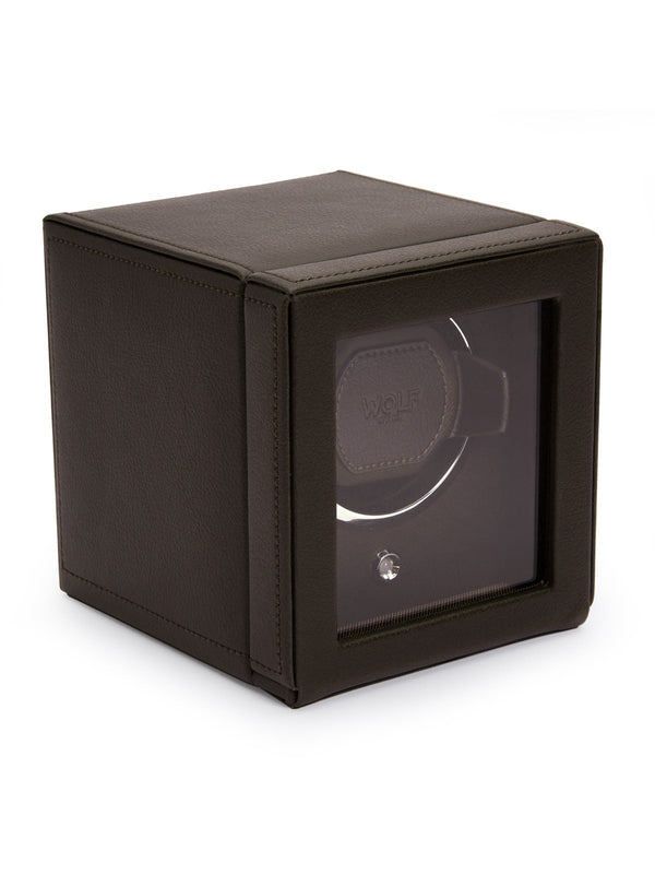 Wolf Cub Single Watch Winder with Cover in Brown 461106