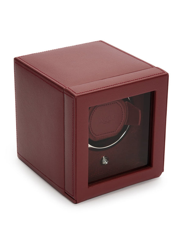 Wolf Cub Single Watch Winder with Cover - Bordeaux Pebble