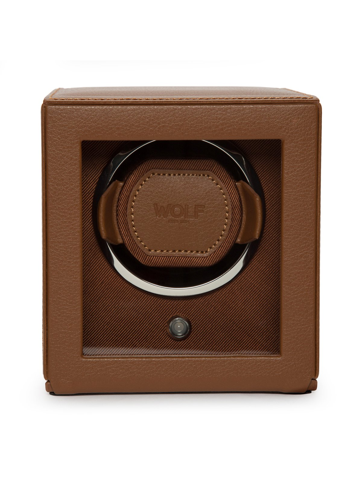 Wolf Cub Single Watch Winder with Cover in Cognac 461127