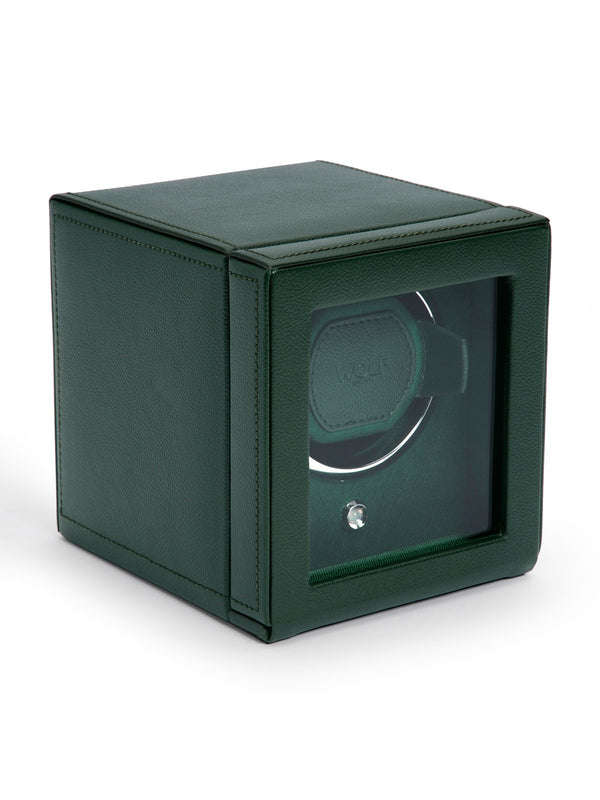 Wolf Cub Single Watch Winder with Cover in Green 461141