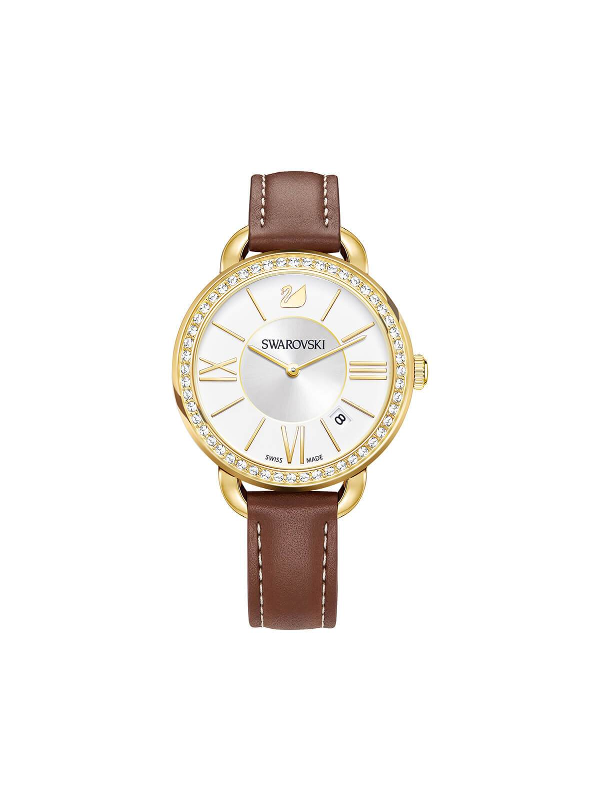 Swarovski Aila Day Gold Plated Stainless Steel Watch on Leather Strap 5095940