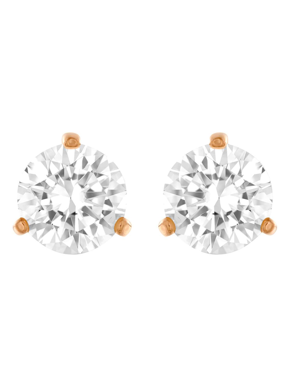 Swarovski Solitaire Rose Gold Plated and Clear Crystal Earrings 5112156