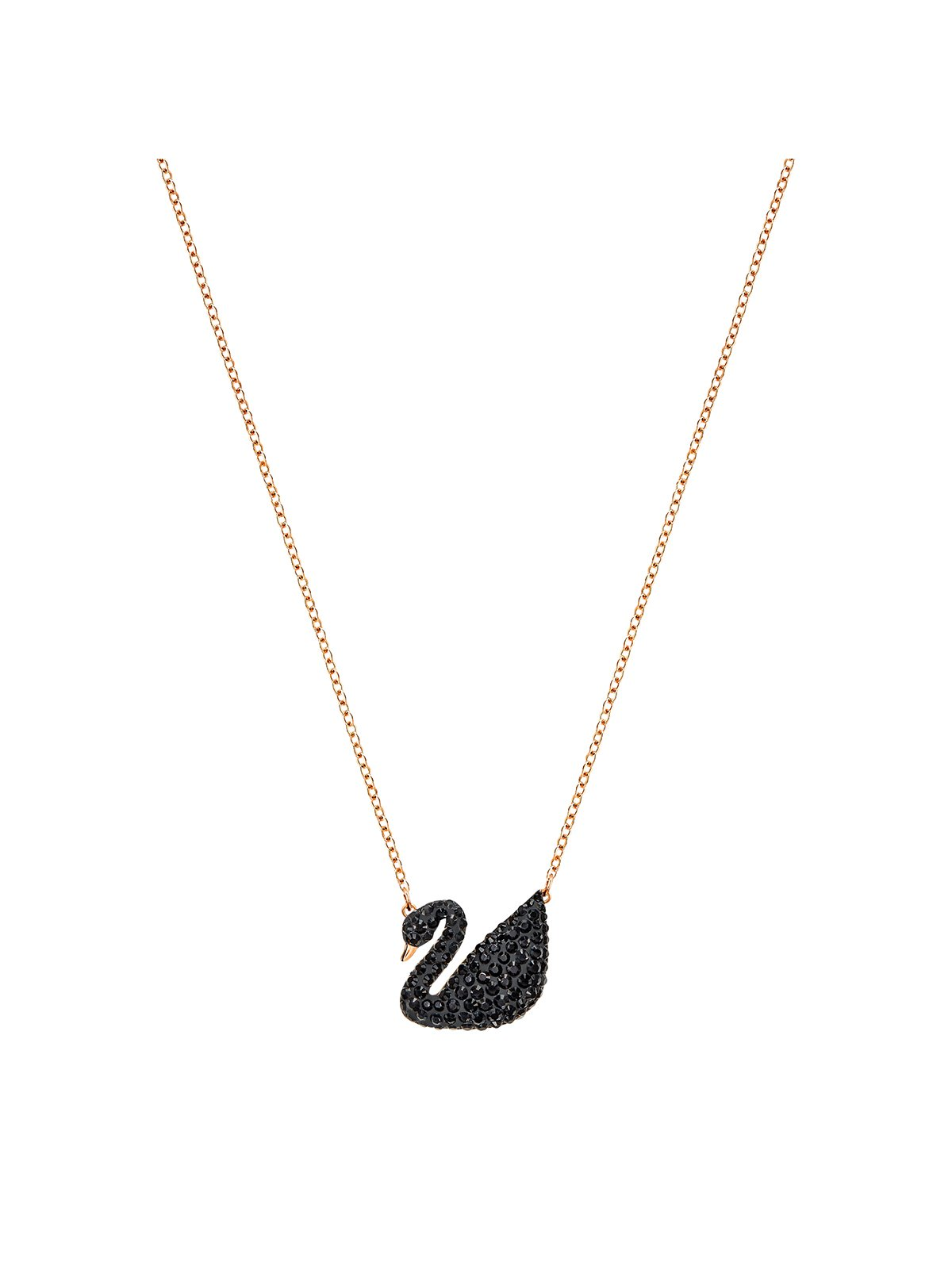 Swarovski Iconic Swan Rose Gold Plated and Black Crystal Necklace 5204134