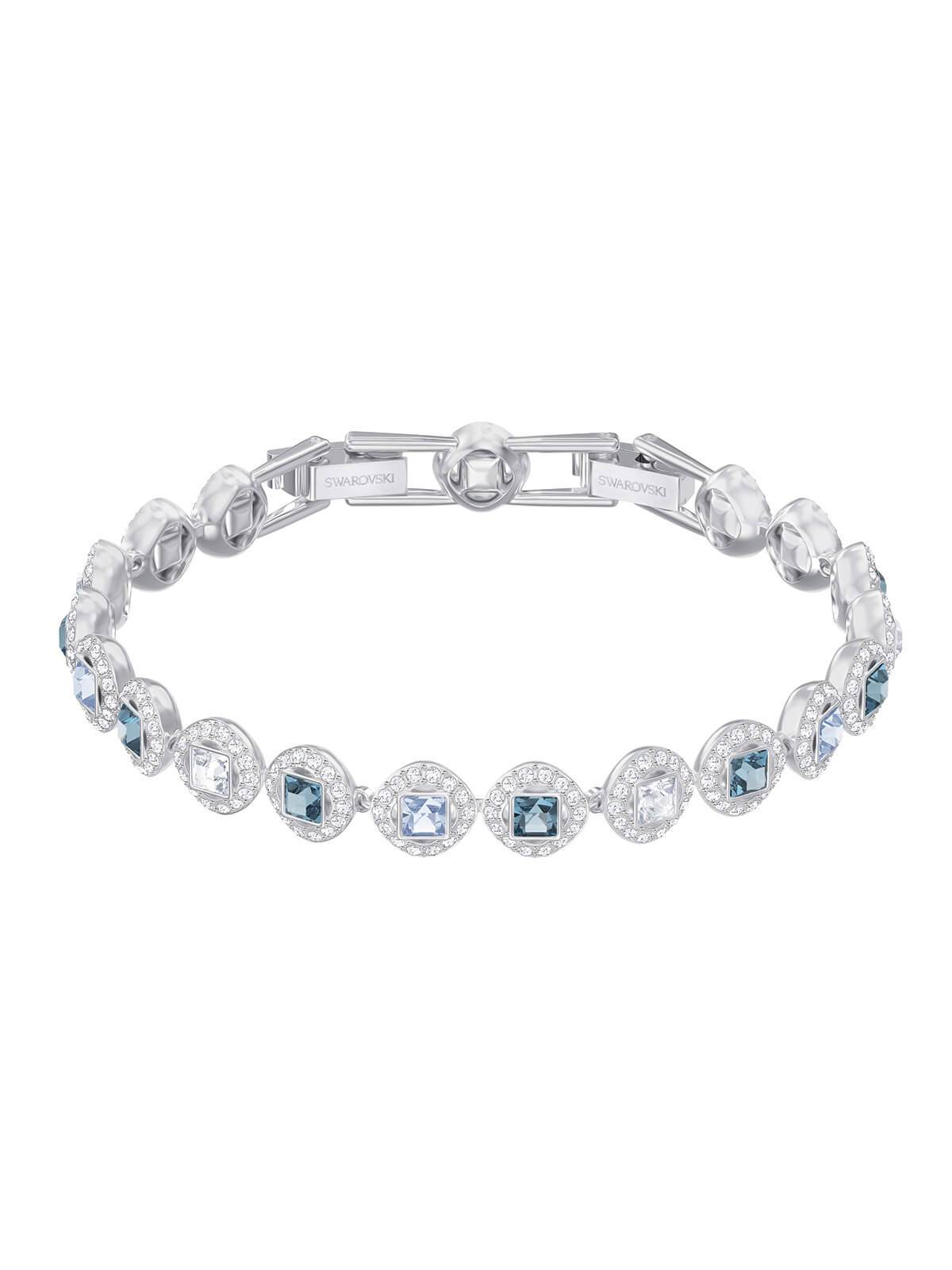 Swarovski Angelic Square Rhodium Plated and Blue and Clear Crystal Bracelet 5289514