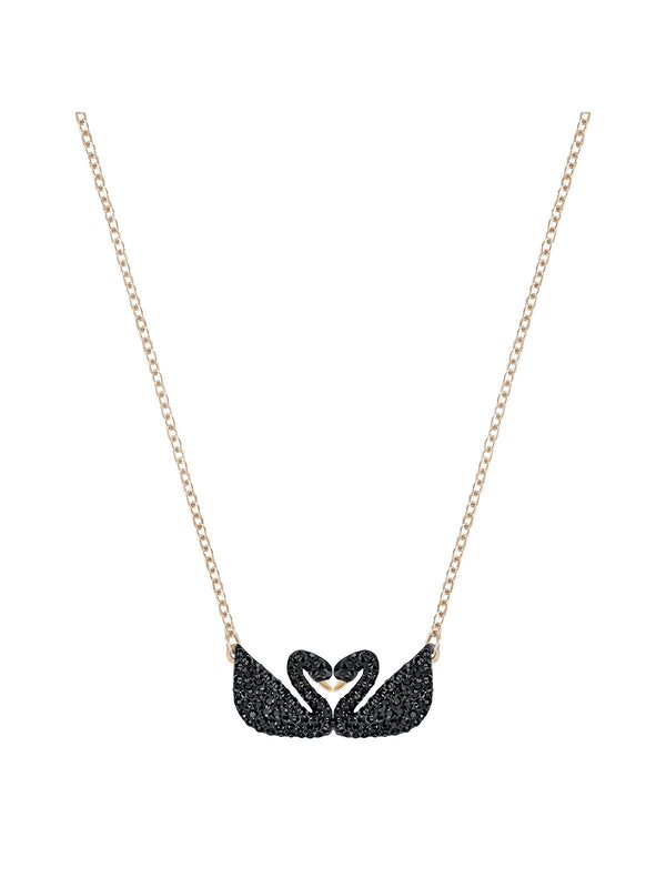 Swarovski Iconic Double Swan Black Crystal Rose Gold Plated Necklace 5296468