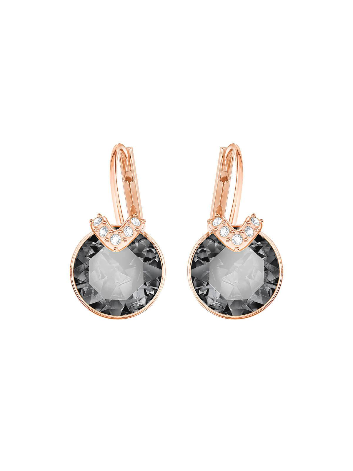 Swarovski Bella V Rose Gold Plated and Grey and Clear Crystal Earrings 5299317