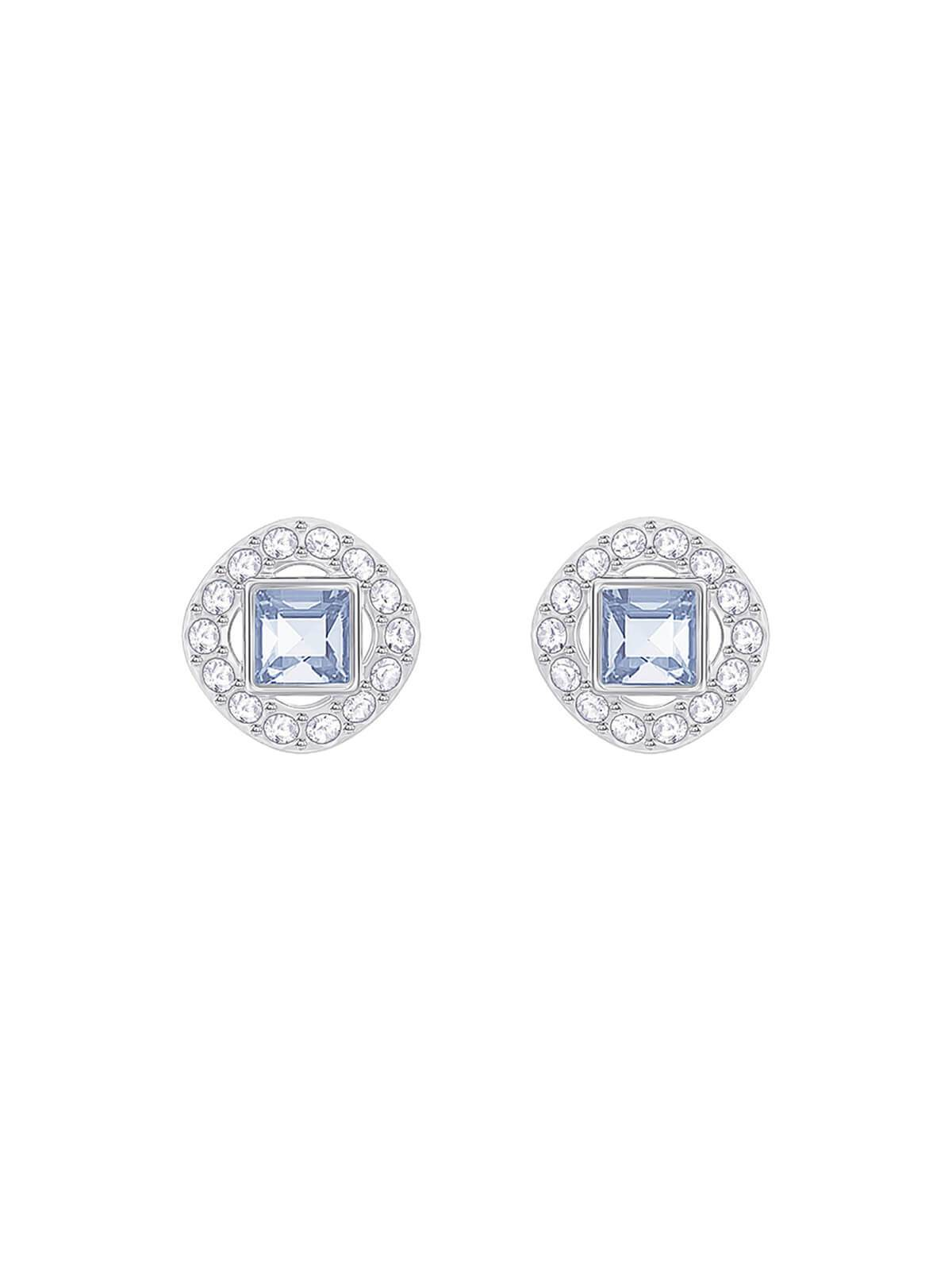 Swarovski Angelic Square Rhodium Plated and Blue and Clear Crystal Earrings 5352048