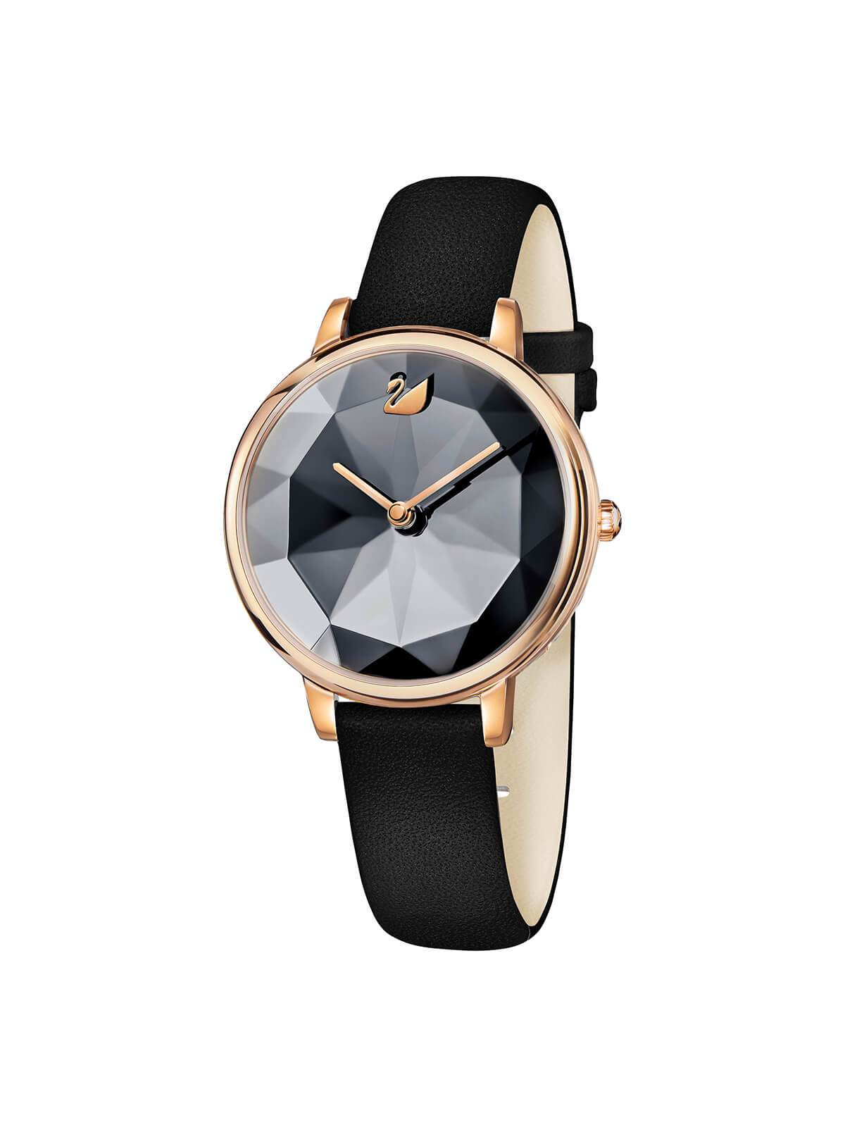 Swarovski Crystal Lake Rose Gold Plated Watch on Black Leather Strap 5416009