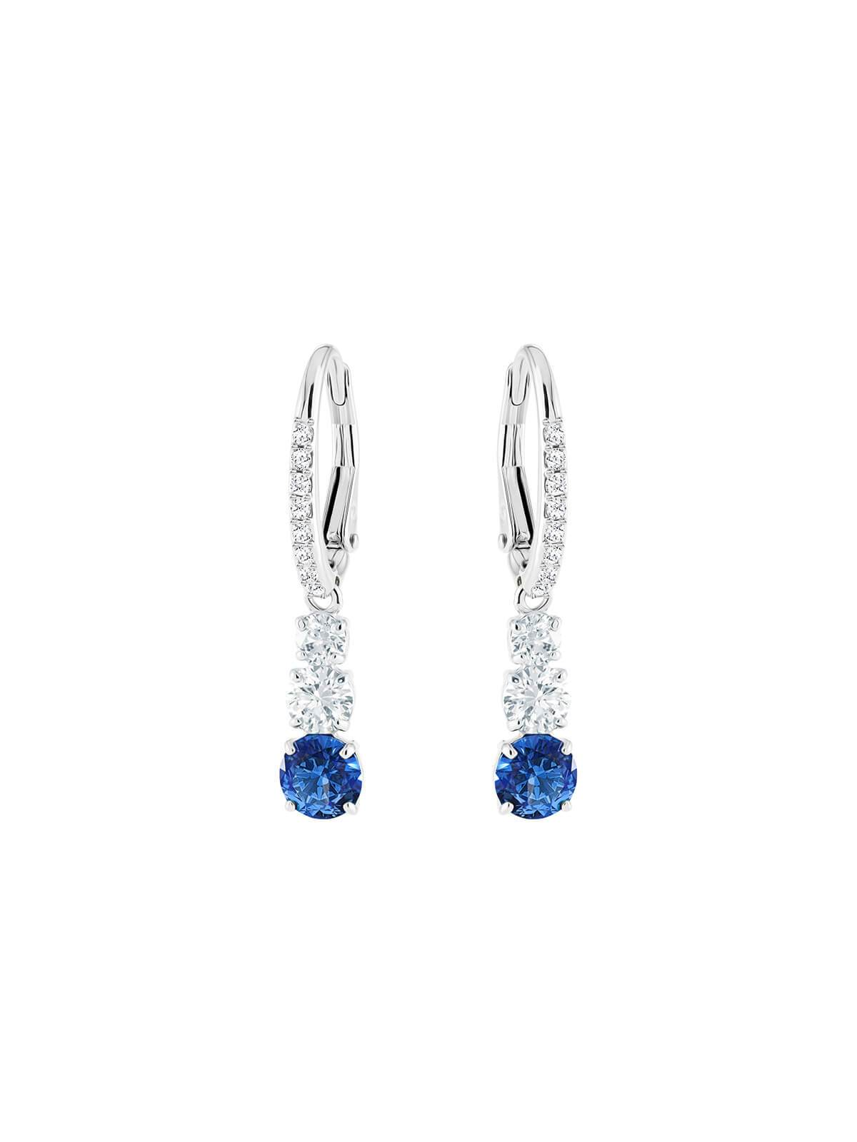 Swarovski Attract Trilogy Rhodium Plated Blue Crystal Hoop Earrings 5416154