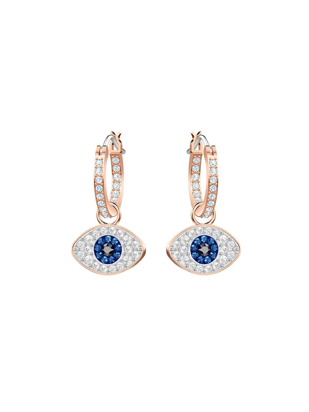 Swarovski Duo Evil Eye Rose Gold Plated and Crystal Hoop Earrings 5425857