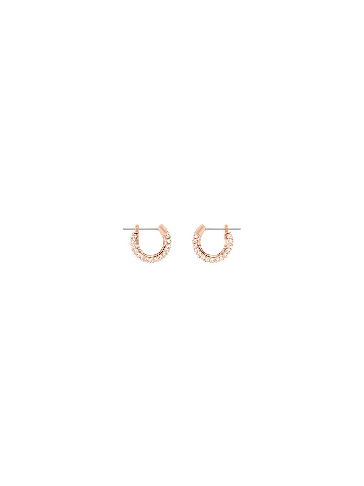 46a65849ef667 Swarovski Stone Rose Gold Plated and Clear Crystal Small Hoop Earrings