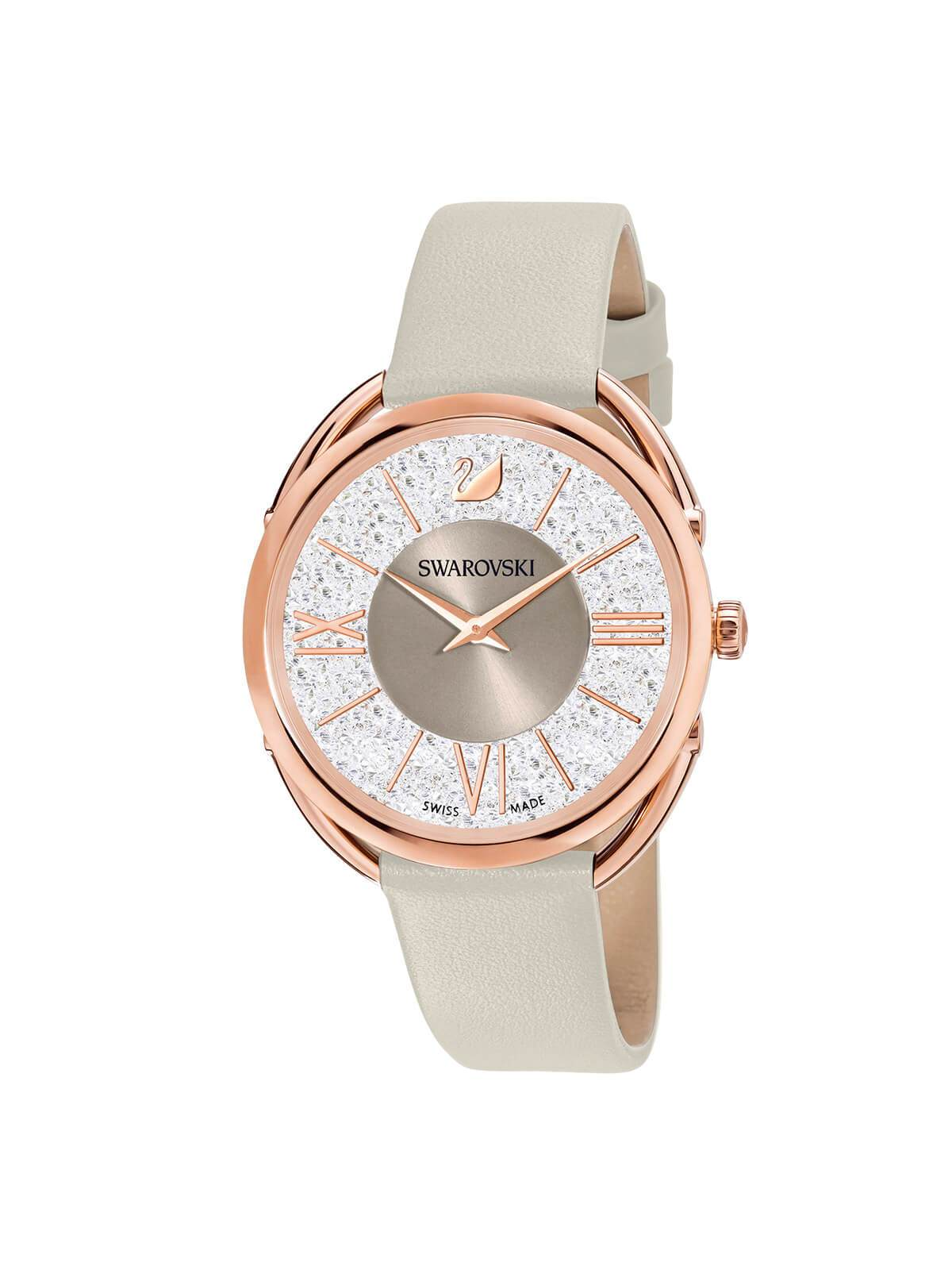 Swarovski Crystalline Glam Rose Gold Plated Watch on Leather Strap 5452455